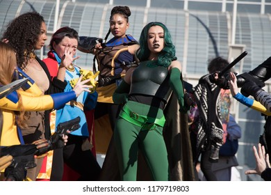 Long Beach, CA - Feb 17: Cosplayers posing outside the Convention Center at the Long Beach Comic Expo on Feb 17, 2018 in Long Beach. As other cons focus on film, the Expo emphasises comics.