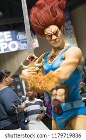 Long Beach, CA - Feb 17: Cosplayer in body paint poses as Lion-O of the ThunderCats at the Long Beach Comic Expo on Feb 17, 2018 in Long Beach.