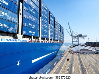 LONG BEACH, CA - FEBRUARY 2016 - The CMA CGM Benjamin Franklin is the largest container ship to ever visit the U.S. The ship was officially inaugurated at the Port of Long Beach on FEBRUARY 19, 2016.