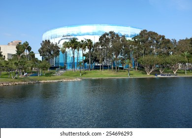 LONG BEACH, CA - FEBRUARY 21, 2015: Long Beach Arena. Painted with a mural by artist Wyland the Arena can be used for sporting events, concerts and other events.