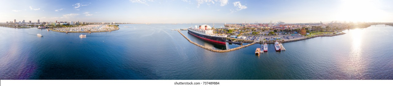 LONG BEACH, CA - JULY 31, 2017: Aerial panoramic view of Long Beach and Queen Mary. It is a famous tourist attraction in California.