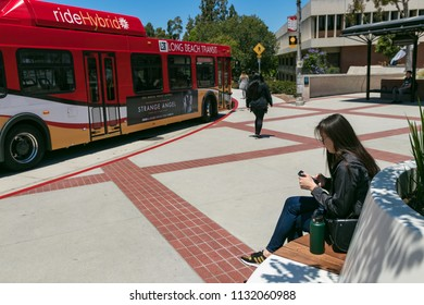 Long Beach, CA - June 28, 2018: Campus of California State University Long Beach; Brotman Hall and student bus in view.