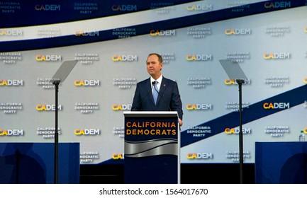Long Beach, CA - Nov 16, 2019: Senator Adam Schiff speaking at the Democratic Party Endorsing Convention in Long Beach, CA.