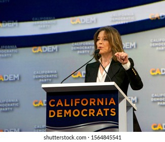 Long Beach, CA - Nov 16, 2019: Presidential candidate Marianne Williamson speaking at the Democratic Party Endorsing Convention in Long Beach, CA