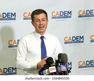 Long Beach, CA - Nov 16, 2019: Presidential candidate Pete Buttigieg speaking at the Democratic Party Endorsing Convention in Long Beach, CA