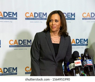 Long Beach, CA - Nov 16, 2019: Presidential candidate Kamala Harris speaking at the Democratic Party Endorsing Convention in Long Beach, CA