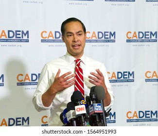 Long Beach, CA - Nov 16, 2019: Presidential candidate Julian Castro speaking at the Democratic Party Endorsing Convention in Long Beach, CA