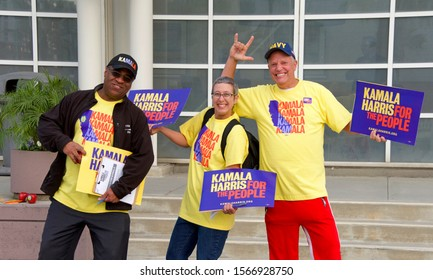 Long Beach, CA - Nov 16, 2019: Supporters for Presidential candidate Kamala Harris holding signs outside the Long Beach Convention center, which is hosting the Democratic Party Endorsing Convention