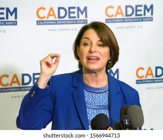Long Beach, CA - Nov 16, 2019: Presidential candidate Amy Klobuchar speaking at the Democratic Party Endorsing Convention in Long Beach, CA