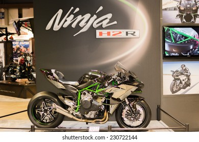 Long Beach, CA - November 13, 2014: Kawasaki Ninja H2 R 2015 motorcycle on display at the International Motorcycle Show