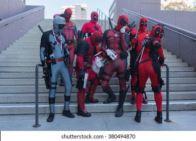 Long Beach, CA - USA - February 20, 2016: Participans with Deadpool costumes during the Long Beach Comic Expo.