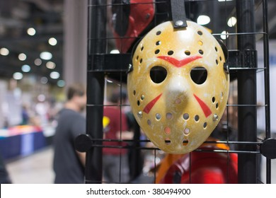 Long Beach, CA - USA - February 20, 2016: Friday The 13th Jason Voorhees Hocke Mask during the Long Beach Comic Expo.