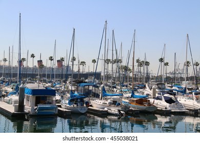 Long Beach, CA, USA - March 16, 2016: With beautiful view of Queen Mary from the clubhouse deck, Shoreline Yacht Club is a Yacht Club in the center of Southern California's most active boating venue.