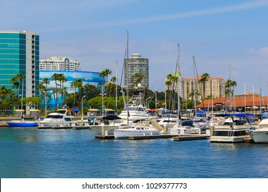 Long Beach, CA / USA - May 22 2011: Long Beach shoreline village area on a sunny day