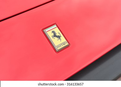 Long Beach, CA - USA - September 12, 2015: Ferrari 328GTS Targa Convertible Coup���© logo on display  at The Long Beach Comic Con held at the Long Beach Convention Center.