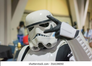 Long Beach, CA - USA - September 12, 2015: Star Wars  Storm Trooper costume at The Long Beach Comic Con held at the Long Beach Convention Center.