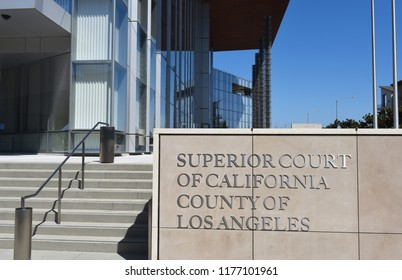 LONG BEACH, CALIF - SEPT 10, 2018: Sign at the Governor George Deukmejian Courthouse a part of the South Judicial District of Los Angeles.