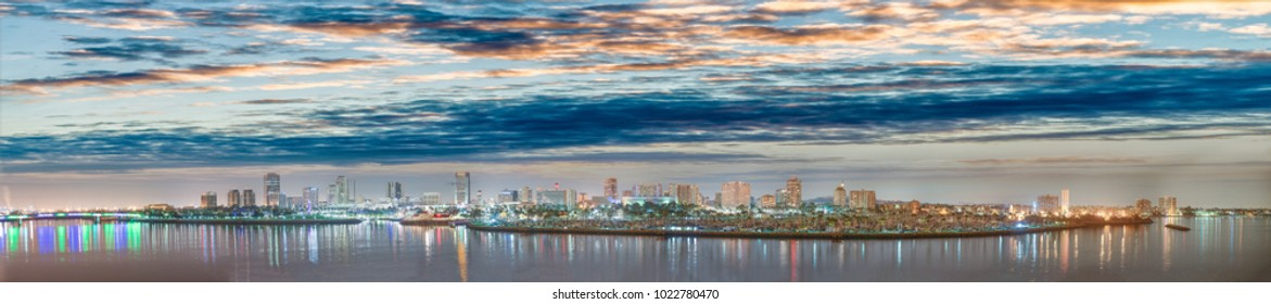 Long Beach in California. Amazing night aerial panoramic view.