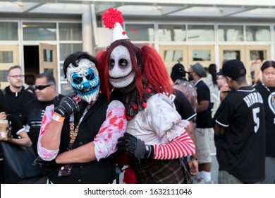 LONG BEACH, CALIFORNIA - AUGUST 3, 2019: MIDSUMMER SCREAM's 4th year event at the Long Beach Convention Center. People in character cosplay costumes and vendors.