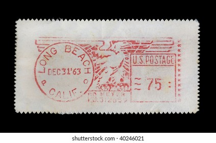 LONG BEACH, CALIFORNIA - CIRCA 1963: Vintage canceled postage stamp with American eagle illustration, circa 1963.