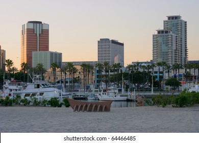 long beach california city skyline at sunset
