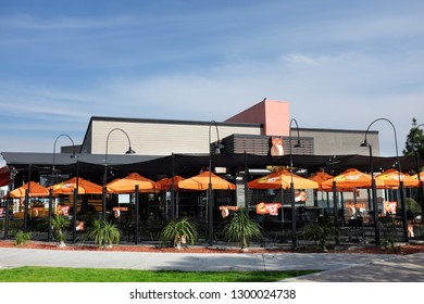LONG BEACH, CALIFORNIA - JAN 30, 2019: Hooters Restaurant in Shoreline Village near the Convention Center and Aquarium of the Pacific.