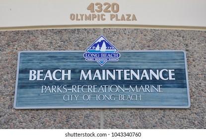 Long Beach, California - January 16, 2018: Sign of beach maintenance in Long Beach.