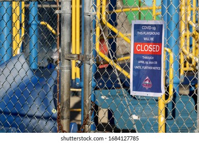Long Beach, California March 25, 2020. Playgrounds throughout Long Beach, Calif. are closed to the public to help contain the coronavirus.