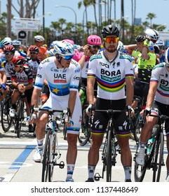 LONG BEACH, CALIFORNIA - MAY 13:  Peter Sagan (SVK) prepares to compete in stage 1 at the Amgen Tour of California on May 13, 2018 in Long Beach, California.