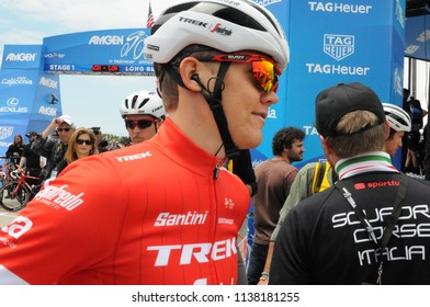 LONG BEACH, CALIFORNIA - MAY 13:  Tom Skujins (LAT) speaks to fans before stage 1 at the Amgen Tour of California on May 13, 2018 in Long Beach, California.