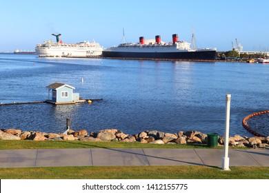 Long Beach, California - May 16, 2019: The Queen Mary, historic Transatlantic ship moored in LONG BEACH, California