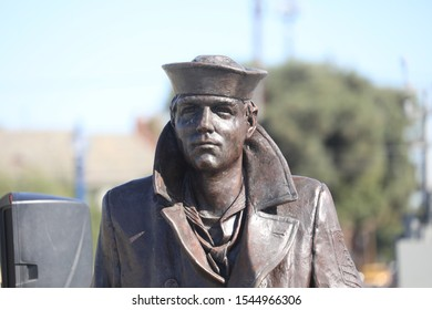 Long Beach, California; Oct. 12, 2019. The Lone Sailor Memorial faces the Pacific Ocean in the Bluff Park section of Long Beach.