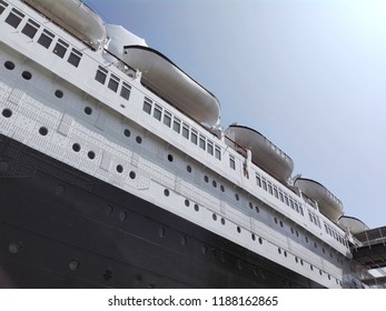 LONG BEACH, California - September 7, 2018: The Queen Mary, historic Transatlantic ship moored in Long Beach