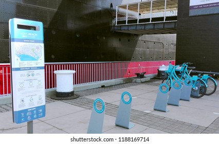 LONG BEACH, California - September 7, 2018: Bike Sharing at The Queen Mary, the historic Transatlantic ship moored in Long Beach