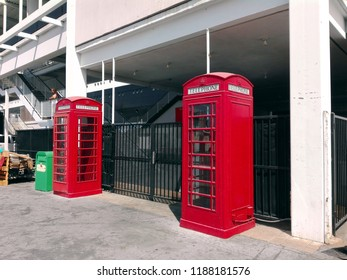 LONG BEACH, California - September 7, 2018: Red British Telephone Box at The Queen Mary, the historic Transatlantic ship moored in Long Beach