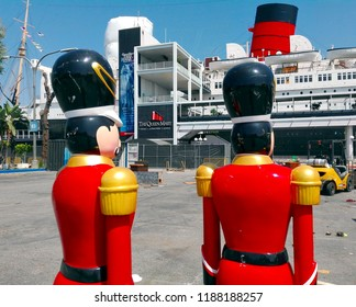 LONG BEACH, California - September 7, 2018: The Queen's Guard at The Queen Mary, the historic Transatlantic ship moored in Long Beach