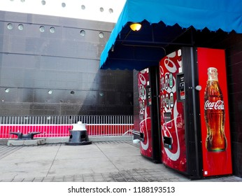 LONG BEACH, California - September 7, 2018: Coca-Cola Vending Machines at The Queen Mary, the historic Transatlantic ship moored in Long Beach