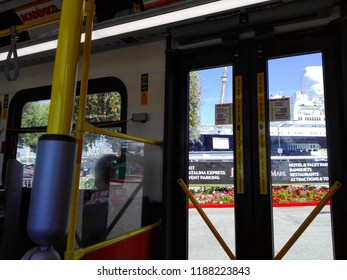 LONG BEACH, California - September 7, 2018: Inside the Long Beach Transit Bus from downtown to The Queen Mary, historic Transatlantic ship moored in Long Beach