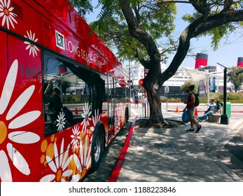 LONG BEACH, California - September 7, 2018: Long Beach Transit Bus from downtown to The Queen Mary, historic Transatlantic ship moored in Long Beach