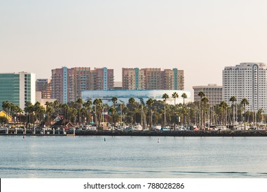 LONG BEACH, CALIFORNIA - SEPTEMBER 8, 2017:  Downtown cityscape of Long Beach Harbor, including the convention center with a Wyland Foundation life-size public marine murals.