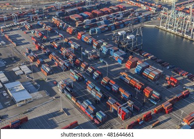 Long Beach, California, USA - August 16, 2016:  Aerial view of harbor cargo containers in Southern California.