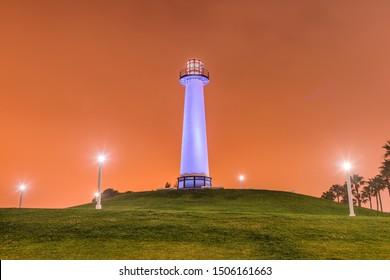 Long Beach, California, USA Harbor Lighthouse at dawn.