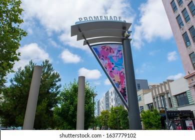LONG BEACH, CALIFORNIA, USA - JUN. 22, 2019: Long Beach Promenade sign on Promenade Pedestrian street at 1st Street in downtown Long Beach, Los Angeles County, California CA, USA.