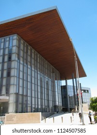 Long Beach, California USA - June 30, 2018: Governor George Deukmejian Courthouse houses a branch of the Los Angeles County Superior Court. Opened in 2013.