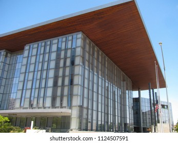 Long Beach, California USA - June 30, 2018: Los Angeles County Superior Courthouse, named for governor George Deukmejian, opened September 2013