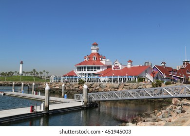 Long Beach, California, USA - March 16, 2016: Parkers' Lighthouse, at Shoreline Village, is known for its grilled fresh seafood and its spectacular views of Rainbow Harbor from waterfront patio.