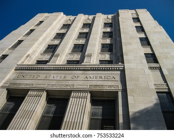 Long Beach, California USA - November 11, 2017: Detail of the the U.S. Post Office building facade shows the PWA moderne styling, reflecting art deco and streamline moderne influences