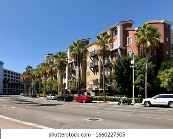 Long Beach, California / USA - October 4th 2017: Beautiful Los Angeles houses with palm trees