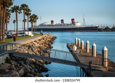 LONG BEACH, CALIFORNIA-JUNE 24: The historic Queen Mary cruise ship in Long Beach Harbor as seen on June 24 2009 in California.