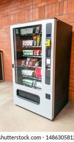 Long Beach, California/United States - 07/12/2019: A vending machine with school supplies merchandise inside